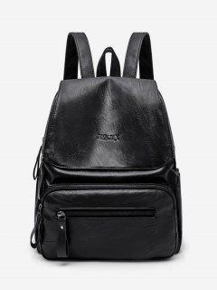 Functional Flap PU Leather School Backpack - Black