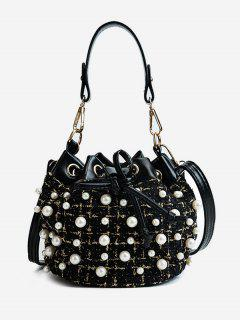 Chic Faux Pearls Embellished Shoulder Bag - Black