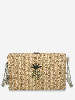 Rope Strap Crystals Pineapple Sling Bag - Light Khaki