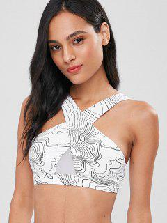 Abstract Printed Mesh Insert Sports Bra - White S