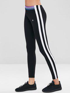 Striped Skinny Sports Leggings - Black L