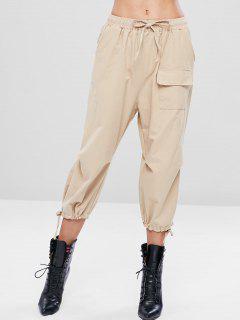 Drawstring Pocket Crop Pants - Beige