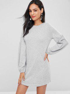 Lantern Sleeve Mini Shift Casual Dress - Light Gray M