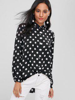 Polka Dot Casual Slinky Shirt - Black S