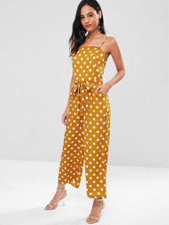 Dressy Polka Dot Palazzo Wide Leg Jumpsuit - Papaya Orange L