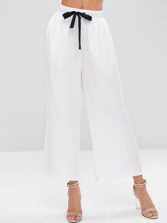 Contrast Drawstring Pockets Wide Leg Pants - White S