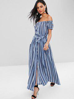 Button Front Off Shoulder Striped Maxi Dress - Multi S
