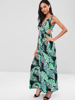 Vestido Largo Estampado Con Estampado De Hojas De Palma - Multicolor 2xl