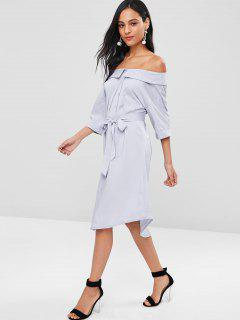 Belted Off The Shoulder Shirt Dress - Blue Gray M