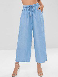High Waisted Chambray Wide Leg Pants - Pastel Blue S