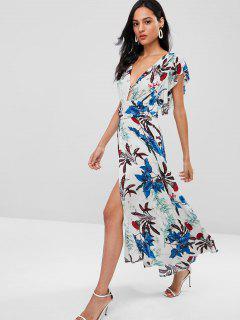 Floral Ruffle Plunge High Slit Maxi Dress - Multi M