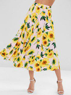 Sunflower Print Maxi Full Skirt - Multi L