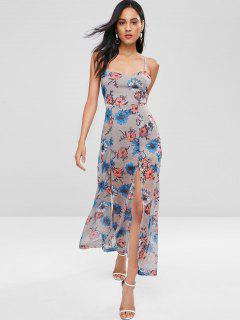 Lace Up Back Floral Slit Maxi Dress - Gray M