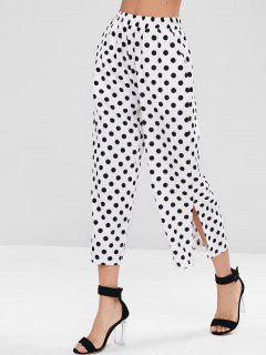 Side Pockets Polka Dot Culotte Pants - White L