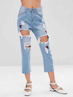 Heart Ripped Cut Out Jeans - Jeans Blue Xl