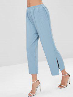Slit Hem Ribbed Wide Leg Pants - Blue Angel