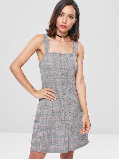 Button Up Plaid Mini Dress - Multi S