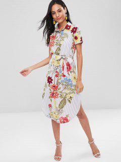 Floral Stripes Slit Shirt Dress - Multi S