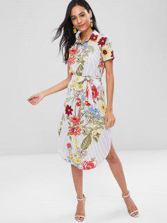 Floral Stripes Slit Shirt Dress - Multi L