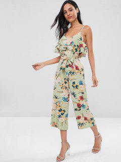Cold Shoulder Orient Floral Wide Leg Jumpsuit - Green S