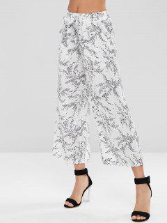 Drawstring Wide Leg Pants - White M