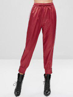 Drawstring Letter Button Embellished Pants - Chestnut Red L
