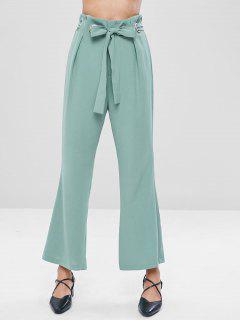 Belted Boot Cut Pants - Cyan Opaque L