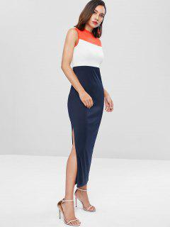 Color Block Slit Maxi Dress - Midnight Blue L