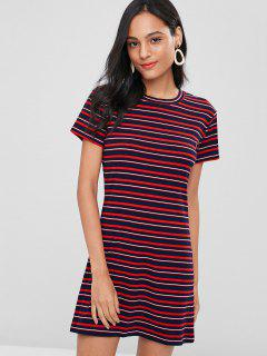 Striped Ribbed Mini Dress - Multi L