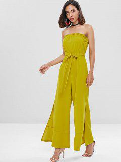 Ruffles Slit Strapless Jumpsuit - Fall Leaf Brown M