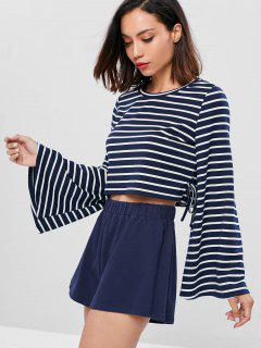 Bell Sleeve Crop T-shirt And Shorts - Deep Blue M