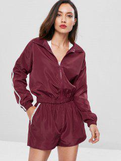 Zip Up Graphic Jacket And Shorts Set - Red Wine L