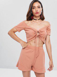 Ribbed Knit Knot Top And Shorts Set - Orange Salmon Xl