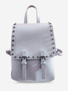 Chic Studded Convertible Backpack - Gray Vertical