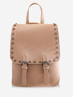 Chic Studded Convertible Backpack - Light Khaki Vertical