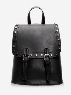 Chic Studded Convertible Backpack - Black Vertical