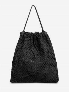 Chic Rope Strap Beach Shoulder Bag - Black Vertical