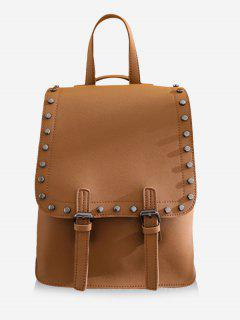 Chic Studded Convertible Backpack - Brown Vertical