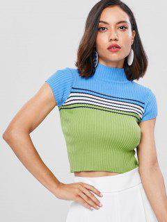 Striped Short Sleeve High Collar Sweater - Multi S