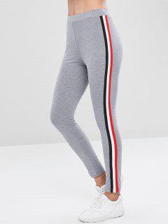 Gestreifte Hohe Taille Leggings - Rauchiges Grau Xl