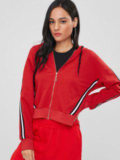 Sporty Stripes Zip Up Hoodie - Lava Red S