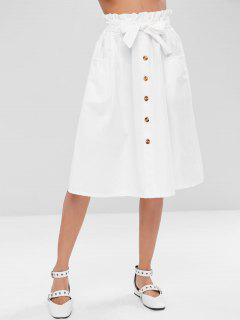 Buttoned A Line Skirt - White