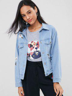 Floral Embroidered Buttoned Denim Jacket - Jeans Blue L