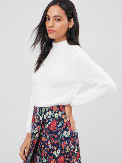 Pelziger Stehkragen Boxy Sweater - Weiß