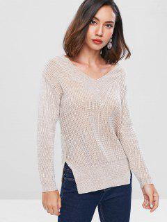 Drop Shoulder High Low Sweater - Tan