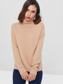 Drop Shoulder Turtleneck Chunky Sweater - Light Khaki