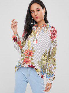 Blusa De Rayas Florales Borlas - Multicolor L