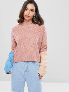 Slash Neck Contrast Loose Sweater - Light Pink