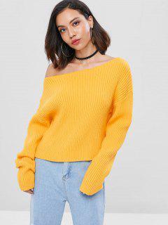 Drop Schulter Schrägkragen Geripptes Sweater - Biene Gelb