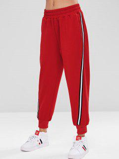 Sporty Stripes Panel Jogger Pants - Lava Red M